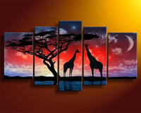 Handpainted Abstract Landscape Oil Paintings Home Decor Wall Art Picture Large African Night Scene Giraff Tree Canvas Painting