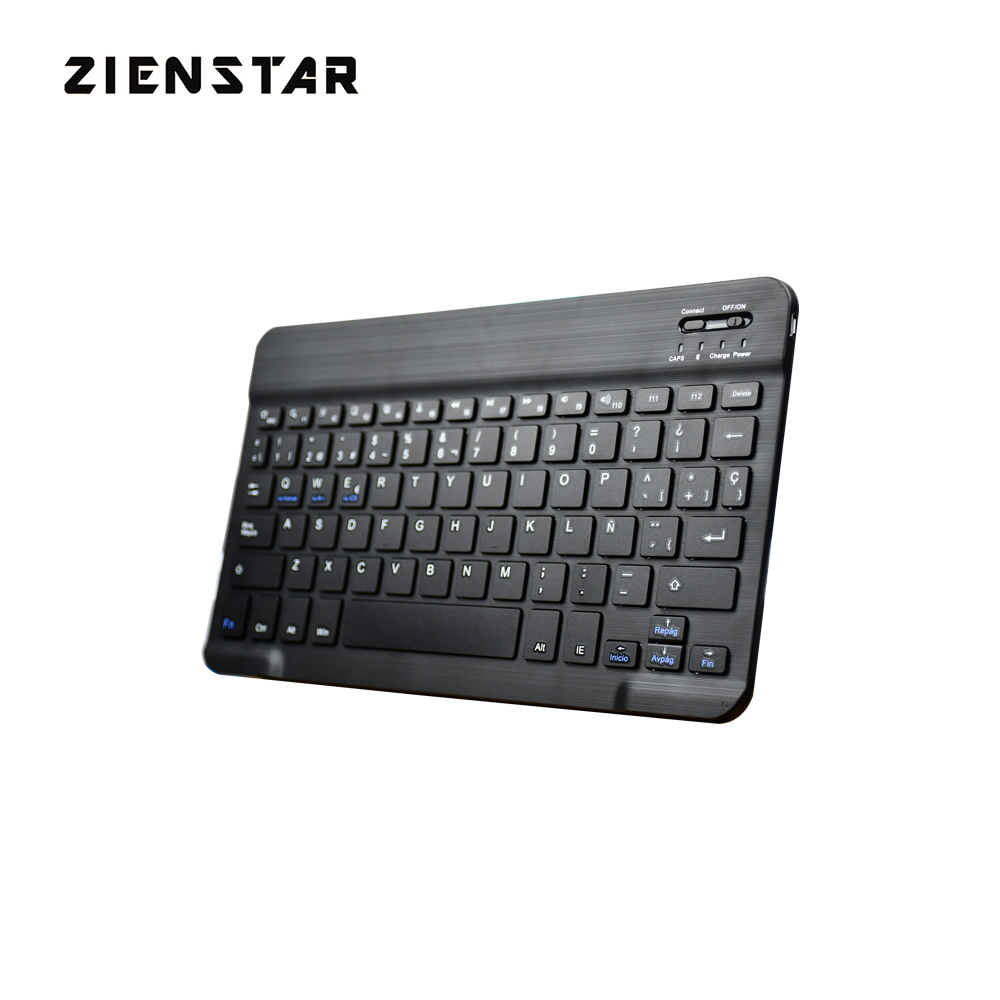 Zienstar 10-tommers spansk brev Aluminium Trådløs Teclado Bluetooth til Apple IOS Android Tablet Windows PC, Litiumbatteri