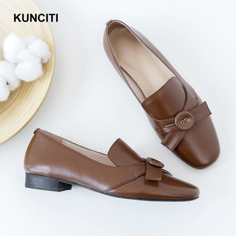 Casual En Beige black brown Printemps F94 Kunciti De Papillon Enceintes Cuir Chaussures 2018 Pour Dames Plat Femmes Oxford twfqxXH