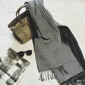 190*70cm European and American style black and white houndstooth cashmere warm thick long section women shawls and scarves