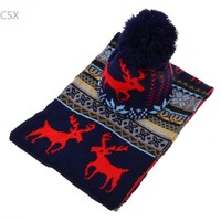 Alishebuyฤดูหนาวถักหมวกnewผู้หญิงผ้าพันคอผ้าคลุมไหล่ยาว+สกีหมวกชุดสุภาพสตรีหวานกวางแบบอบอุ่นหน...