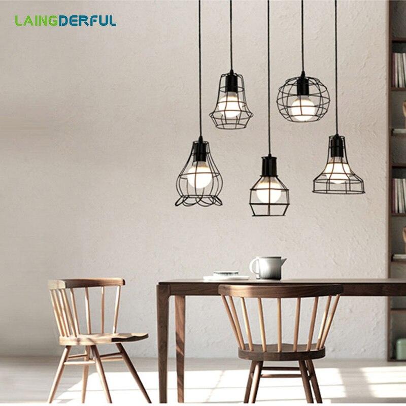 LAINGDERFUL Modern Black Cage Pendant Lights Iron Minimalist Retro Scandinavian Loft Pyramid Lamp Metal Hanging Lamp все цены