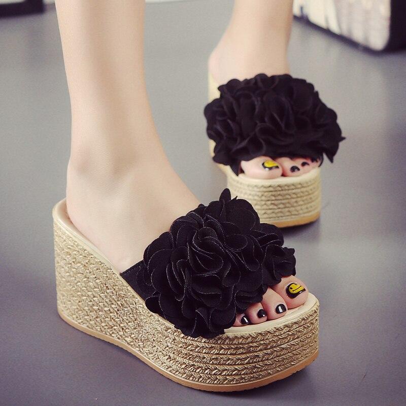 b63875962e9 2018 hot summer floral wedges shoes woman candy color flower decoration platform  sandals Bohemia flip flops beach sandals s20