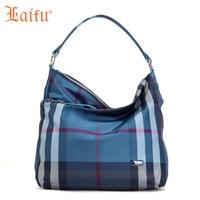 Laifu Fashion Women Toute Shoulder Bag Elegant Lady Handbag Geometric Plaids Nylon Lightweight Waterproof