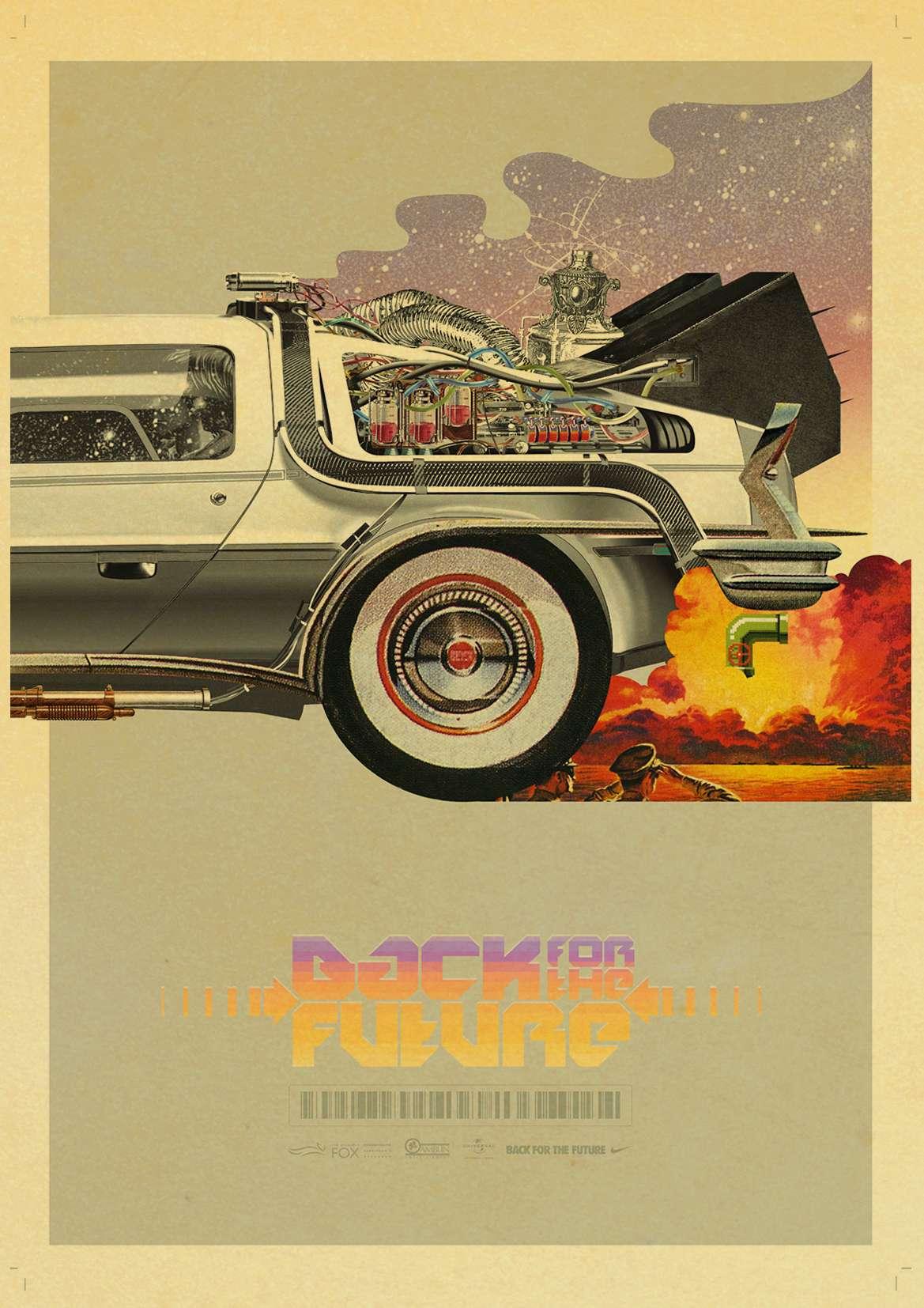 Sci-fi Back to The Future Film Propaganda Retro Kraft Poster Decorative DIY Wall Canvas Sticker Home Bar Art Posters Decor