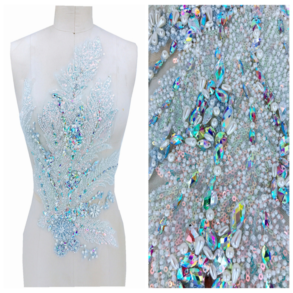 Clear AB Colour Hand Made  Crystal Patches Trim Sew On Sequins  Rhinestones Applique  49*33cm For Top Dress