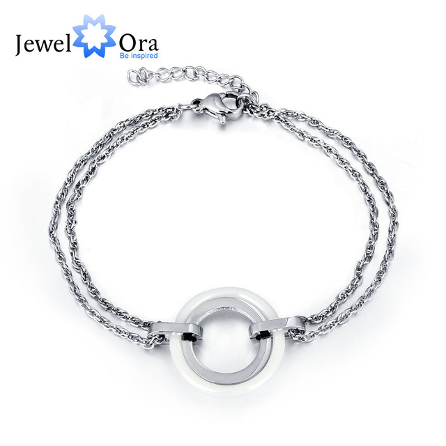Stainless Steel Bracelet White Ceramic Double Circle