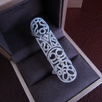 Hot sale Fashion Luxury micro pave setting AAA zirconia lace hollow out full finger ring,R1269