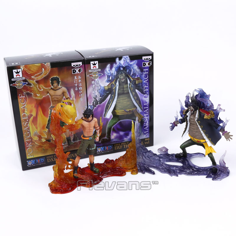Anime One Piece DXF The Rival vs1 Portgas D Ace VS Marshall D Teach Figures Collectible Model Toys 2pcs/set Boxed