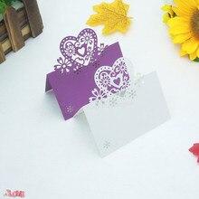 50Pcs Heart Sheap Table Card Wedding Love Rose Element Seat  Birthday Party Decoration 5ZZ14