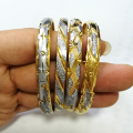 1 Piece/ OPENABLE/ Wholesale Two Tone Bangle Jewelry Mix Color Plated Ethiopian Bangle Bracelet Africa Arab Bangles Gold #006402