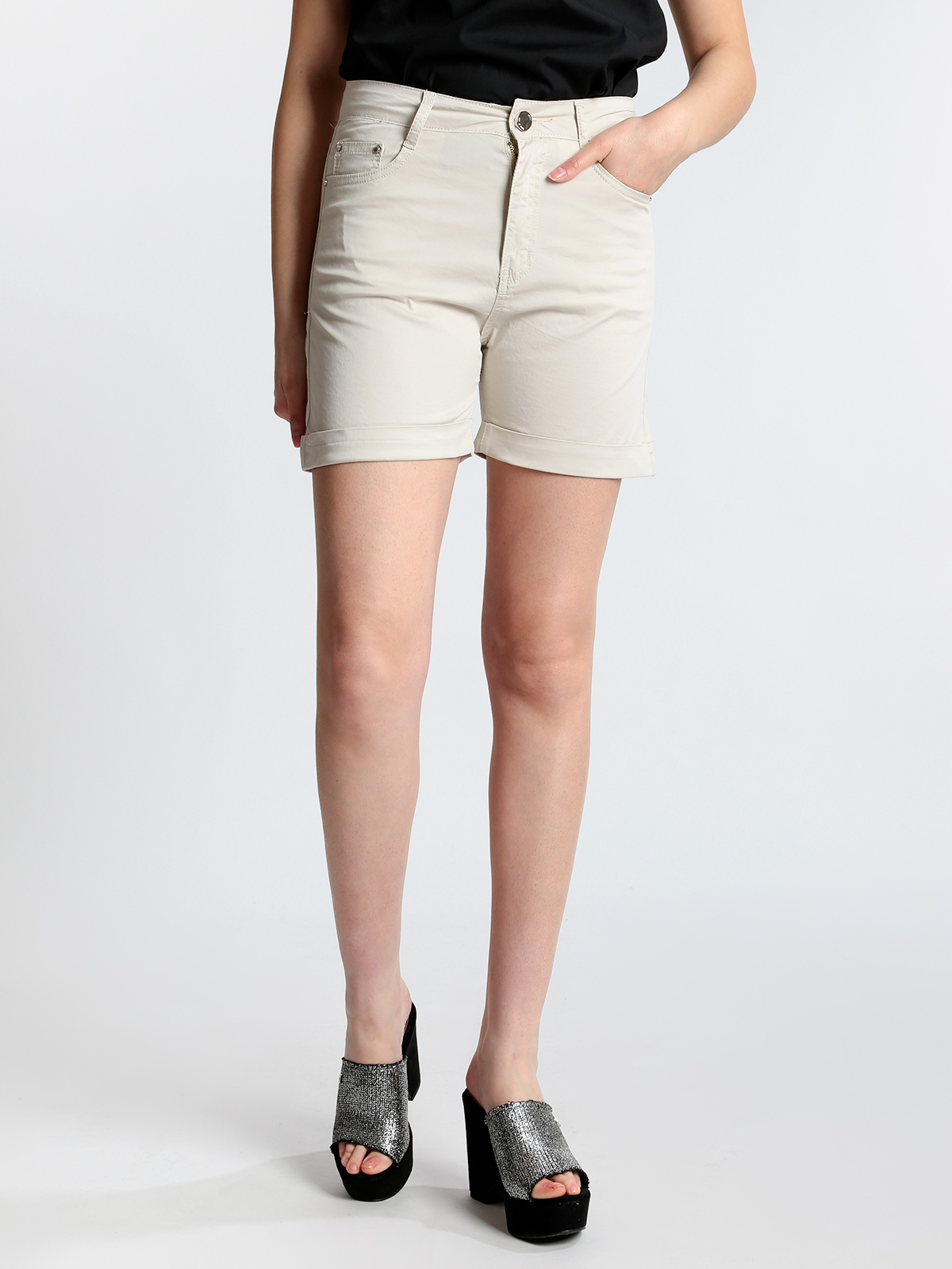 High Waist Shorts Cotton With Lapels