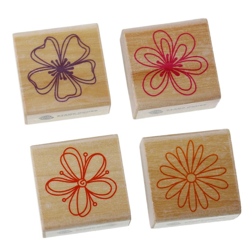 Wood Seal Stamper Square Shape Mixed Flower Pattern Carved Scrapbooking Stamp DIY Scrapbooking/Card Making/ Deco 1 Set 2016 new new arrival shiny s 828d 33 56mm stamp printer date adjustable seal controlled file obsolete shipping stamper chapter 48