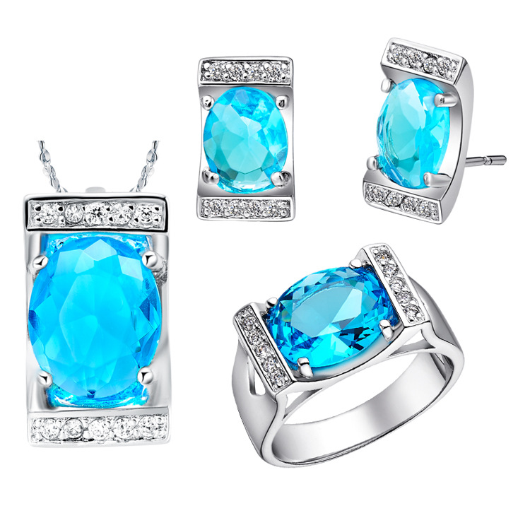 NEW white gold set of 925 sterling silver set of imported luxury...