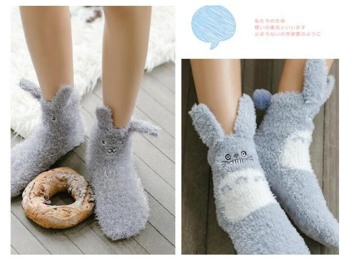Non-slip  Warm Furry Ear Totoro & Koala Velvet Socks