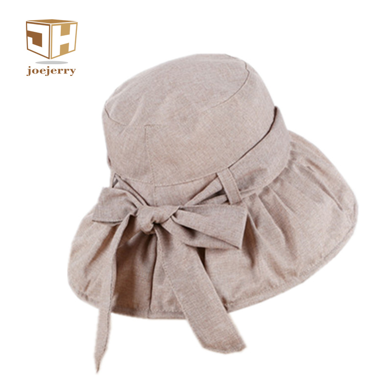 joejerry Cute Solid Color Bucket Hat Girls Sun Hat Summer Bow Beach Fisherman Hats Sun Protection