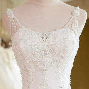 Image 4 - SL 25 New Sweetheart Cathedral Train Lace up  Pearls Wedding Dress 2017