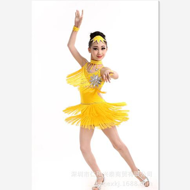 Fashion High Quality Milk Silk Crystal Flower Child Dress Kids Tassel Latin Dress Girls Rhinestones Dance Costumes with Headwear pegasus girls sexy latin dance dress fashion female dance dress1448 new clothes and costumes