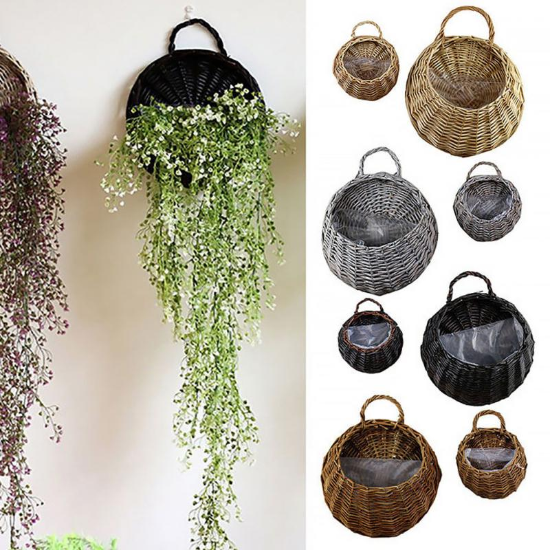 Flower-Basket Planter Hanging-Vase-Container-Wall Rattan Wicker Garden Vine-Pot for Green