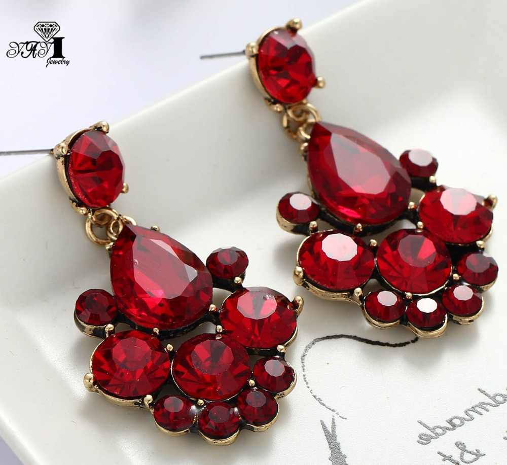 YaYi Jewelry New  Red Glass Gray Rhinestone Dangle Crystal Earring Women's Fashion Ancient Gold Color Gem Earrings 1164