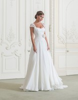 2014 New Chiffon Scoop Wedding Dress Bridal Gown Us Size 4 6 8 10 12 14