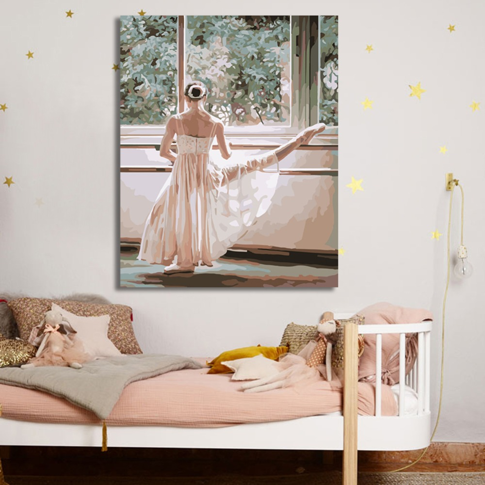 WONZOM Ballet Dance Girl Paint By Numbers Oil Painting On Canvas With Frame Home Decor Wall Art For Living Room Acrylic Paint in Painting Calligraphy from Home Garden