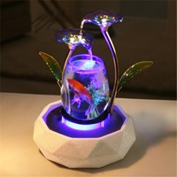 Tabletop Water Feature Lotus Fountain Waterfall Cascade Indoor Decoration Aquarium Zen Humidifier Meditation LED light fish tank