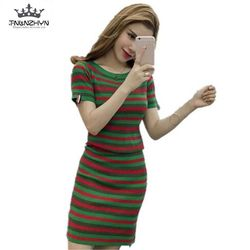 Tnlnzhyn 2017 spring young women sweater suits stripes short sleeve knitted clothing package hip short skirt.jpg 250x250