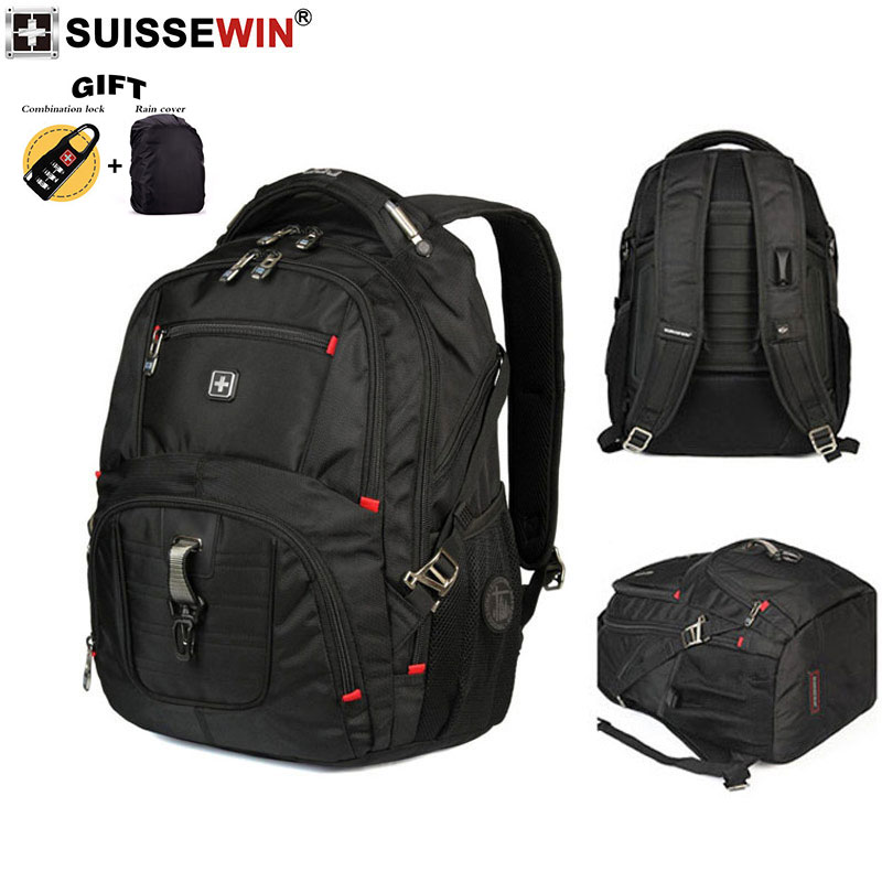 2019 Swiss large capacity school bags multi function computer bag business travel water repellent backpack