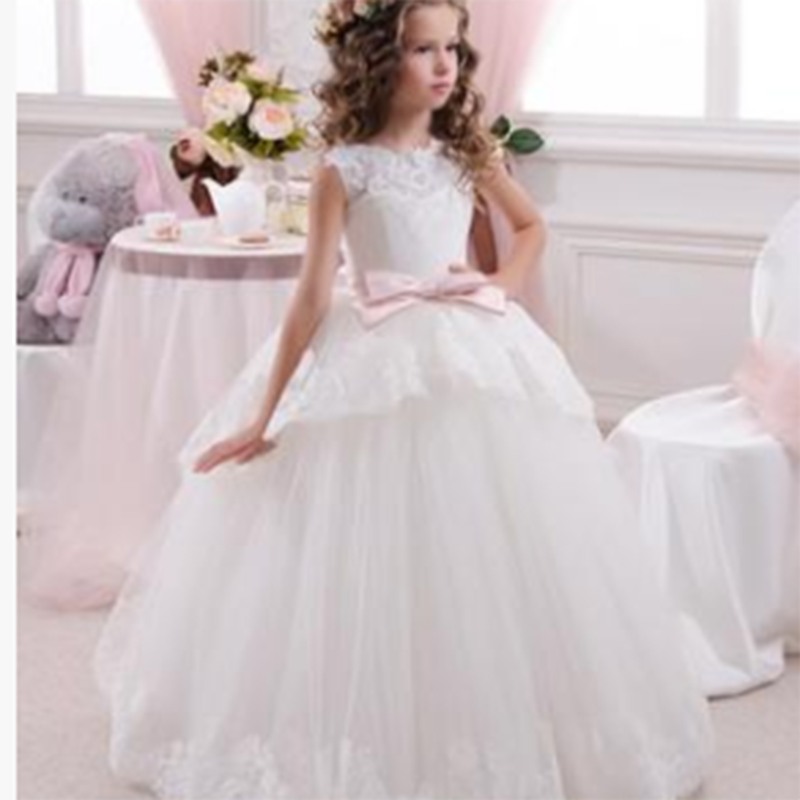 Princess dress Lace Flower Girl Dresses Sleeveless Bow lace Vestido Menina Lace Appliques Toddler Little Infant Dress dress kid girl princess dress toddler sleeveless dress tutu lace flower bow dresses pageant dress clothes