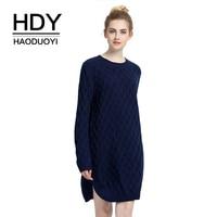 HDY Haoduoyi Fashion Women Sweater Long Sleeve Pull Slit Sweater Dress Knitting Winter Autumn Sweater Jumper