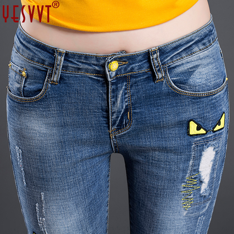 YESVVT 2017 New arrival fashion jeans women printed hole jeans Ripped straight full length jeans high