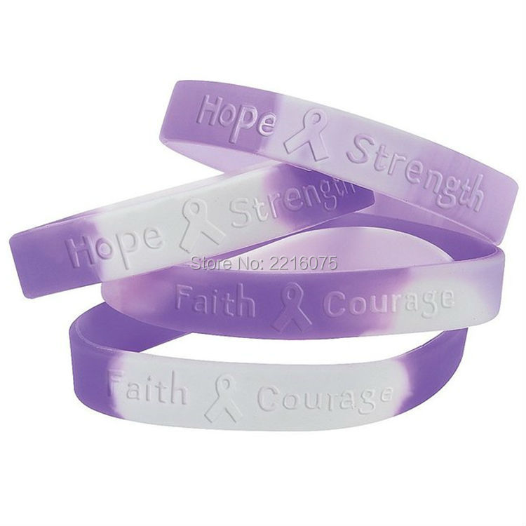 300pcs ribbon camouflage hope strength faith courage silicone wristband rubber bracelets free shipping by dhl express - Support Our Troops Silicone Bracelet