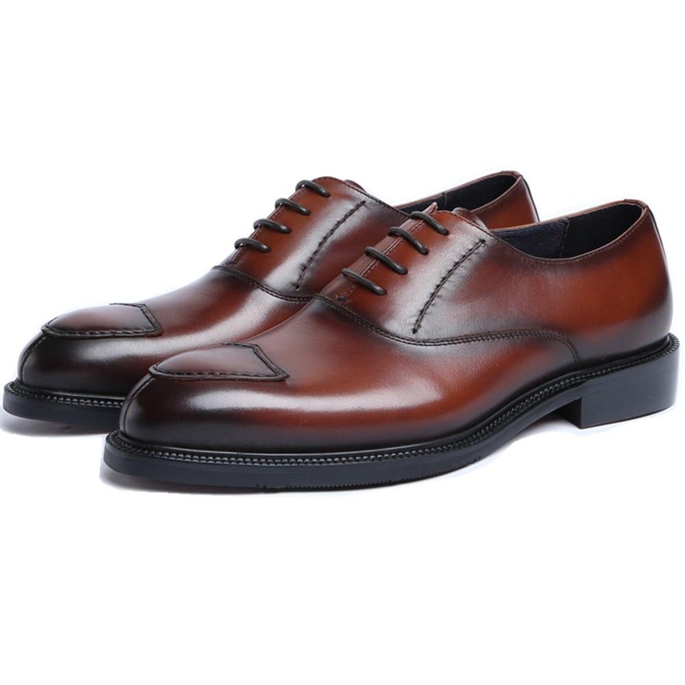 Fashion Black / Tan Social Shoes Men Business Dress Shoes Genuine Leather Oxfords Prom Shoes Man Wedding ShoesFashion Black / Tan Social Shoes Men Business Dress Shoes Genuine Leather Oxfords Prom Shoes Man Wedding Shoes
