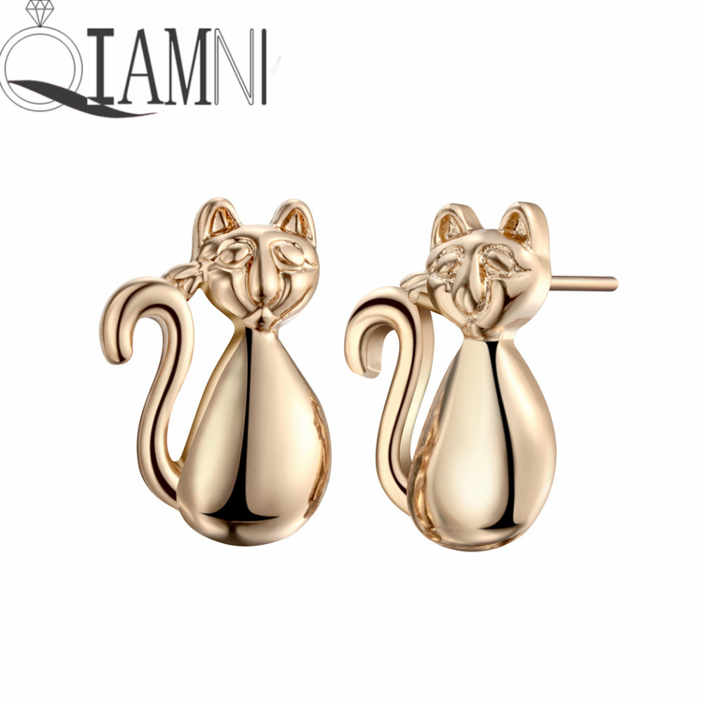 QIAMNI Trendy Lovely Cat Animal Long Tail Piercing Stud Earring Girls Women Men Charm Pendientes Christmas Party Gift Jewelry