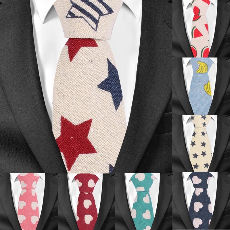 Fashion Men Tie Cotton Linen Neckties For Men Casual Print Skinny Ties For Wedding Party Groom Neck Ties Cravat Slim Necktie