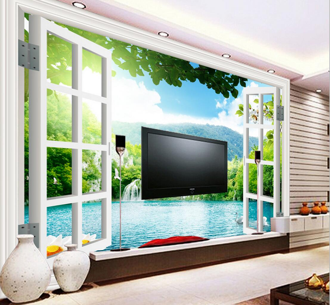 3d Window Green Landscape Wall Paper Photo Wall Mural For Living