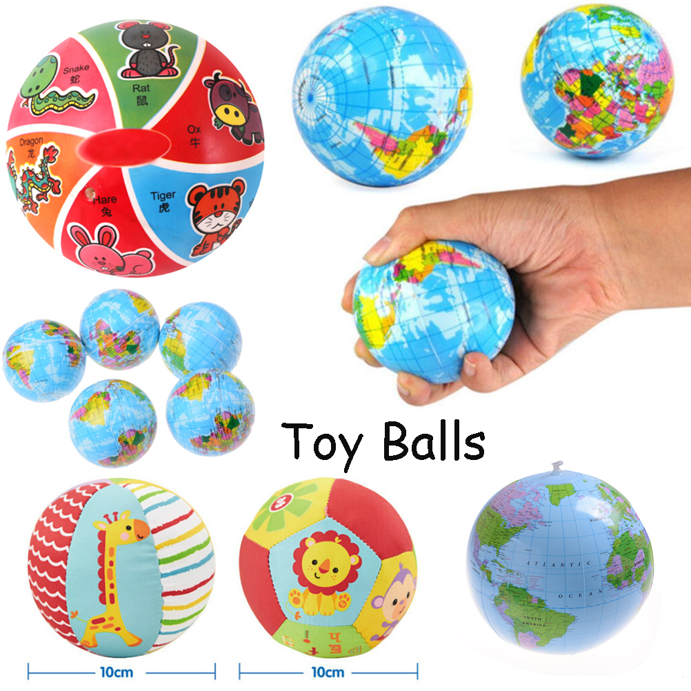 4 Types Anti Stress Relief World Map Foam Balls Planet Earth Educational Geography Toy Balls Soft Stuffed Bouncy Animal Balls