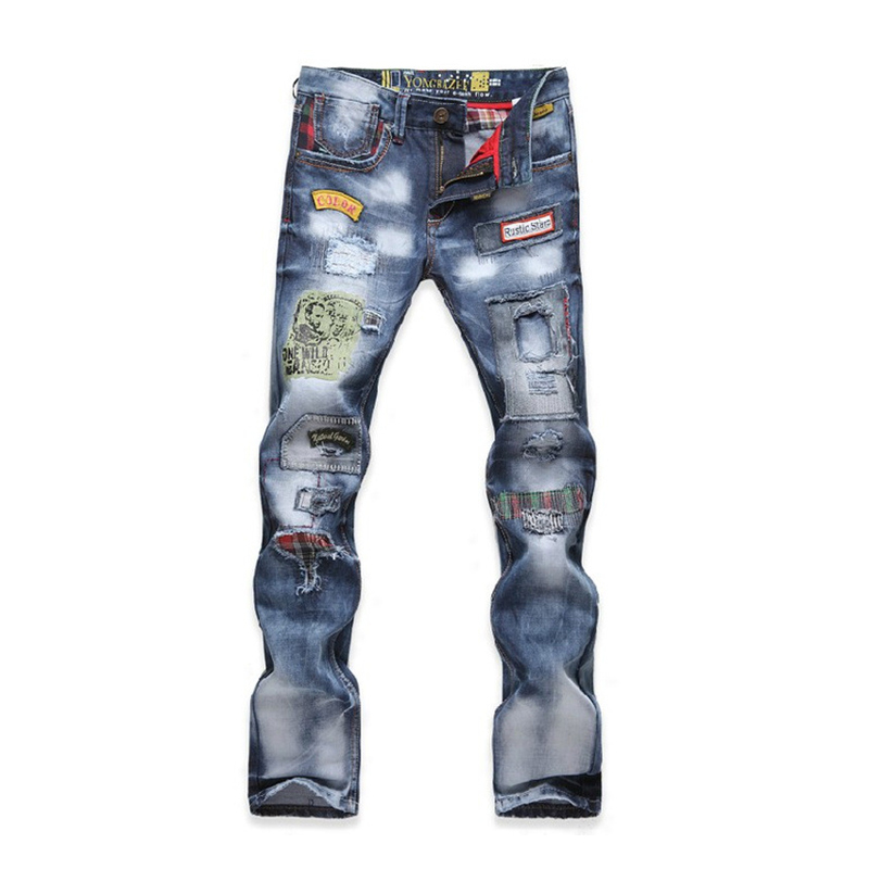 ФОТО Men's Hip Hop Rock Patchwork Jeans Badge Hole Straight Slim Pants Ripped Denim Jeans Fashion Designer Casual Trousers 29-36
