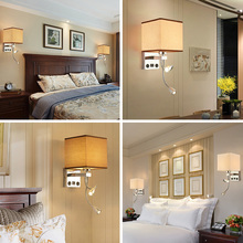 Modern Indoor LED Wall Lamp Bedside Bedroom Applique Sconce With Switch USB E27 Bulb Interior Headboard Home Hotel Wall Lights