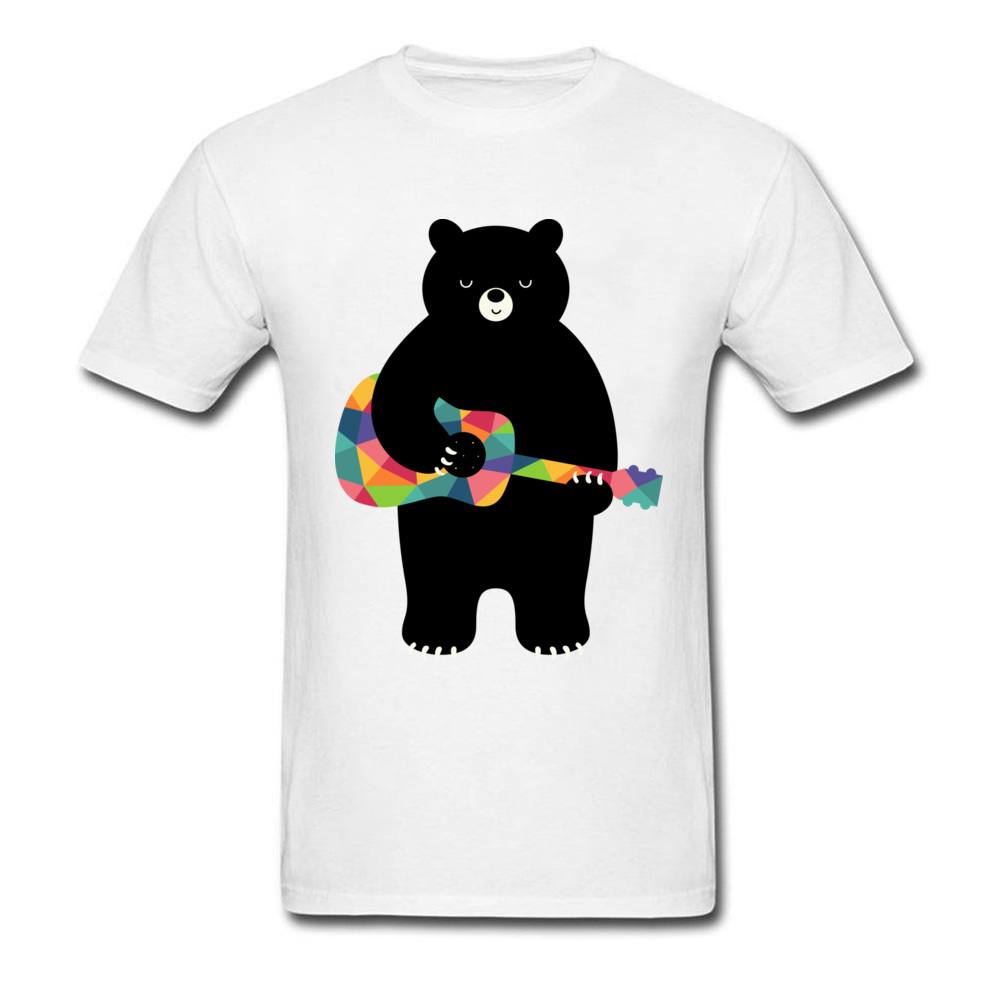 Black Bear Happy Song Boys Rock Music Tshirt High Quality 100% Cotton Never Fade Printed Animal Bear With Guitar Tops T Shirt