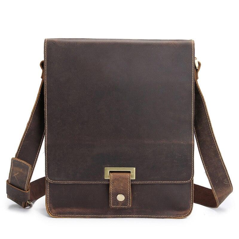 Genuine Leather Men's Messenger Bag Shoulder Crossbody Bag For Men Cow Leather Briefcase Vintage Flap Pocket Handbag Casual Tote