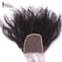 Mongolian Afro Kinky Curly 5x5 Lace Closure Pre Plucked Hairline With Baby Hair Bleached Knots 100% Human Hair Ever Beauty Remy