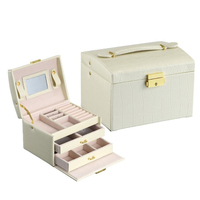 Fashion Delicate 3 Layer Jewelry Double Drawer Box Travel Jewelry Organizer For Women's Necklace Bracelet Storage Box New