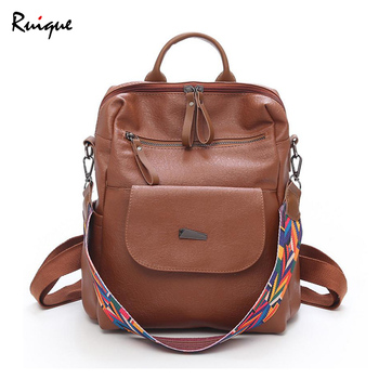 Ruique Vintage Style Simple Casual Backpack Women Multicolor Wide Strap Fashion Travel Bag Teenager Large Capacity School Bags