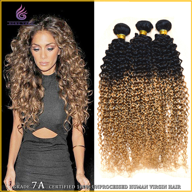 Natural Humano Weaving Jerry Curl 3 Pieceslot Bundle Two Tone
