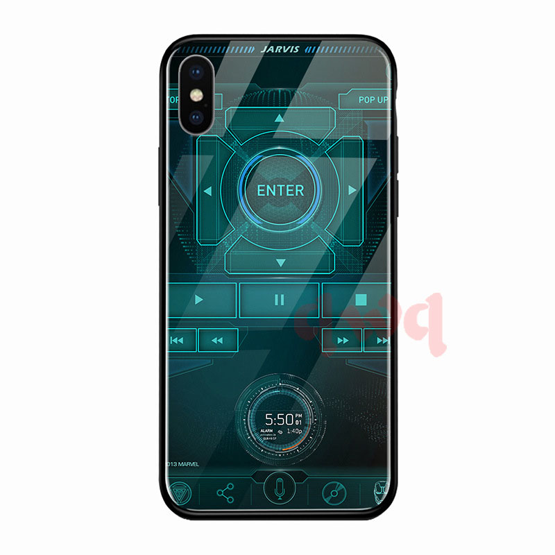 Circuit Board Tempered Glass Hard Back Phone Cases For Iphone 6 6S 7 8 Plus Full Cover For iphone X XR Xs Max TPU Soft Edge Case-G