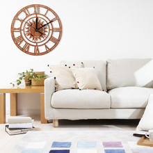 New Sun Shaped Round Roman Numeral Wood Clock Home