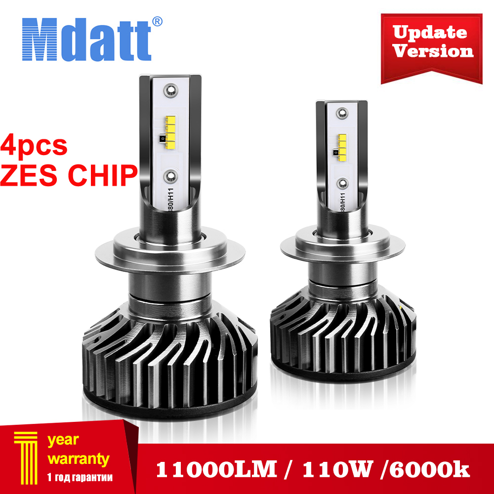 Mdatt Super Bright H7 H4 LED Car headlights Canbus ZES Headlight Bulb 110W 11000LM H1 9005 9006 H8 H9 6000K 12V Auto light