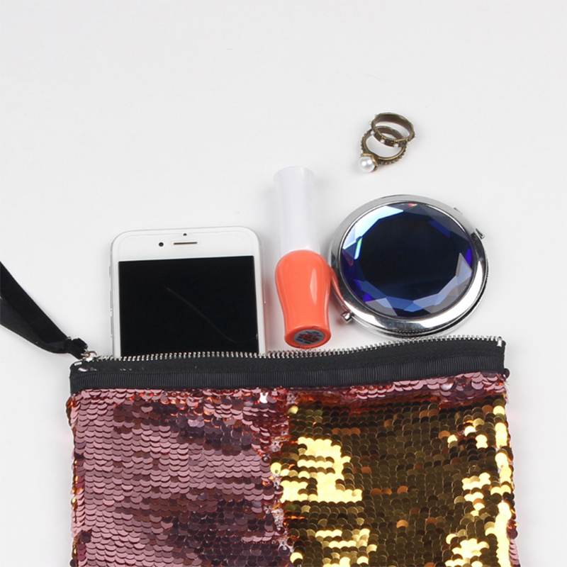 Veamor New Fashion Makeup Bag Double Sided Sequined Holding Bags Handbag Package Small Coin Purse Cosmetic Wb1546 In Storage From Home Garden On